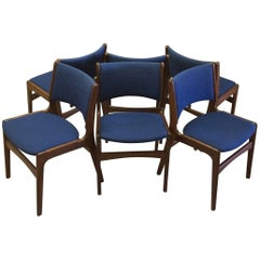 1950s Set of Six Erik Buch Dining Chairs in Solid Teak and Blue Fabric