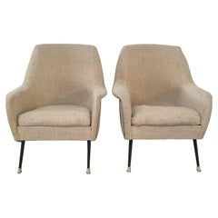 Pair of Italian Armchairs with Original Bouclé fabric from 1960s