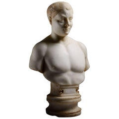Roman Marble Portrait Bust of a Youth, 150 AD