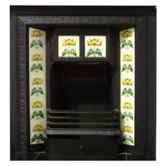 19th Century Cast Iron Fireplace Insert Grate with Antique Tiles