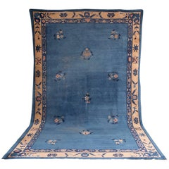 19th Century Large Antique Chinese Carpet Rug in Blue