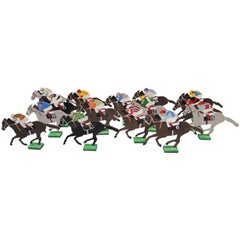Vintage 1940 Metal Hand-Painted Race Horse Equestrian Game Markers