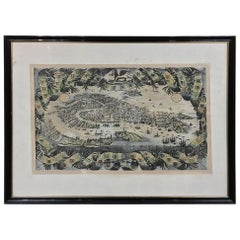 Antique Framed Lithograph Map of Venice