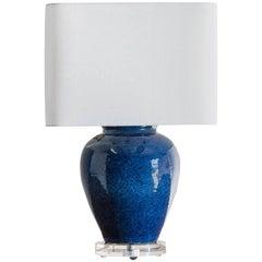 Vintage Chinese Lapis Lazuli Blue Vase Lamp, Lucite Base, circa 1950