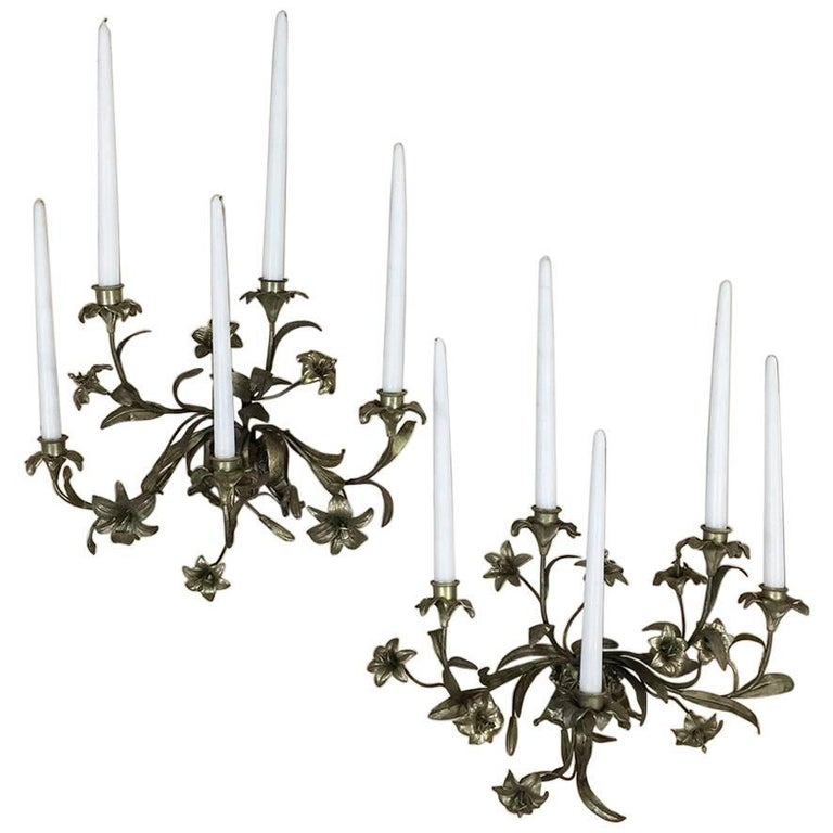 Pair of 19th Century Gilded Bronze French Louis XV Lilly Candelabra Wall Sconces