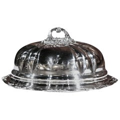 19th Century English Henry Wilkinson Silver Plated Platter with Matching Dome
