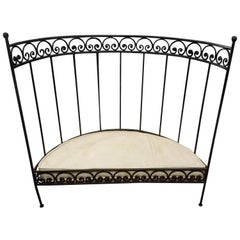 Medi Half Moon Wrought Iron Moroccan Bench, Cushion and Pillows Included