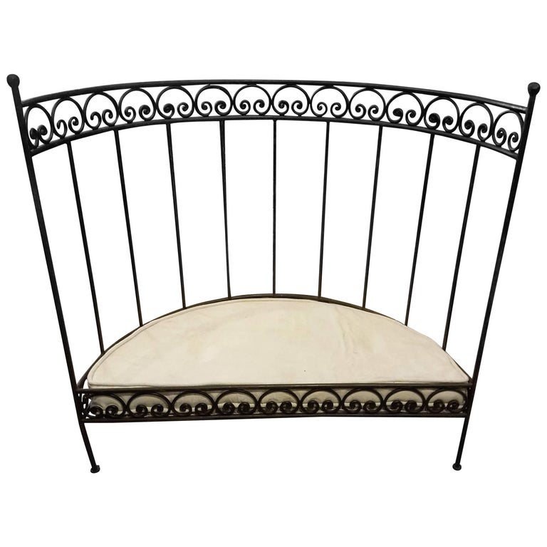 Medi Half Moon Wrought Iron Moroccan Bench Cushion And Pillows Included
