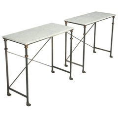 Pair of Old Plank Stainless Steel, Bronze and Carrera Marble Console Tables