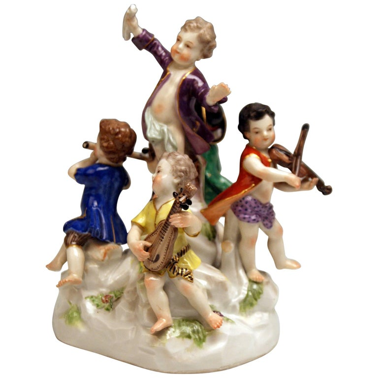 Meissen the Music Band Cherubs Making Music Model 2489 Kaendler Made 1860