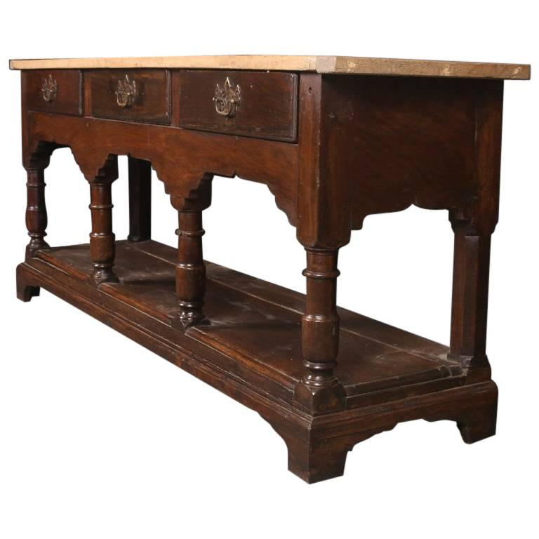18th Century English Oak and Sycamore Dresser Base