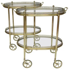 Pair of French Oval Brass Bar Carts, 1950s