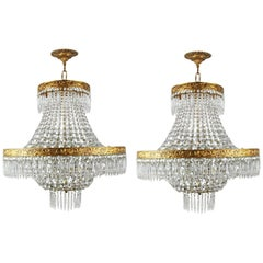 Pair of Interesting 1930s Tent and Waterfall Chandeliers