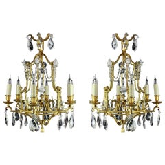 Rare and Attractive Pair of Pagoda Style Small Chandeliers