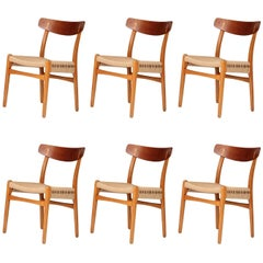 Set of Six Hans Wegner CH23 Dinning Chairs