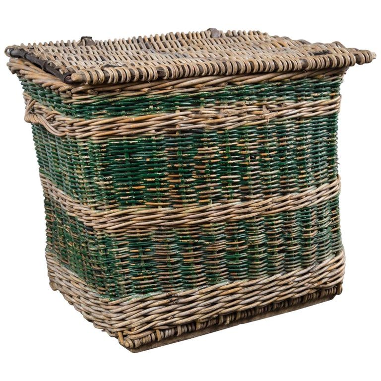 French Woven Rattan Lidded Basket with Handles, circa 1920s