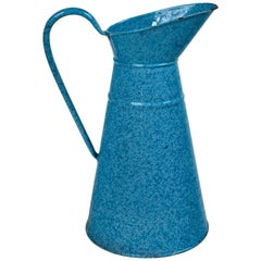 Vintage French Enamelware Pitcher, circa 1920