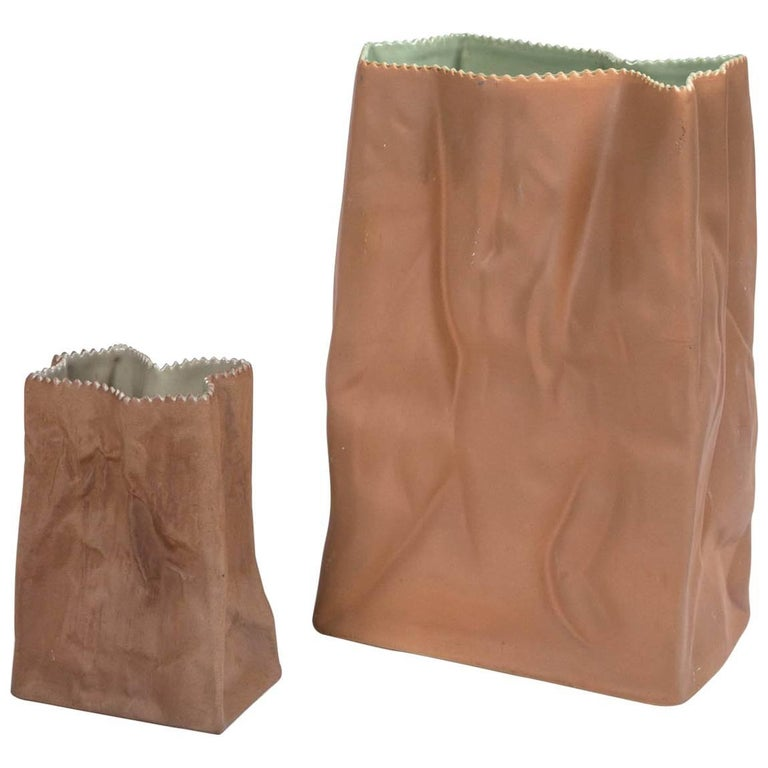 Vintage Paper Bag Vases by Tapio Wirkkala, Rosenthal, Finland, circa 1970s For Sale