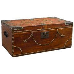 19th Century Tack Decorated Trunk