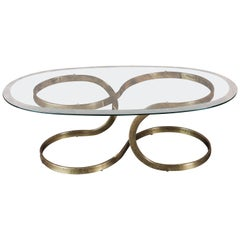 Vintage Brass Ribbon Coffee Table with Glass Top