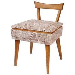 Midcentury Sewing Chair in John Robshaw Fabric