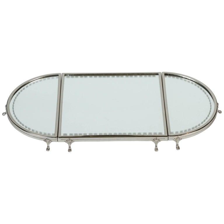 Vintage three piece silver plate framed mirror plateau at for Silver framed mirrors on sale