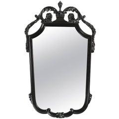 Vintage Wood Framed Mirror with Flower and Urn Design
