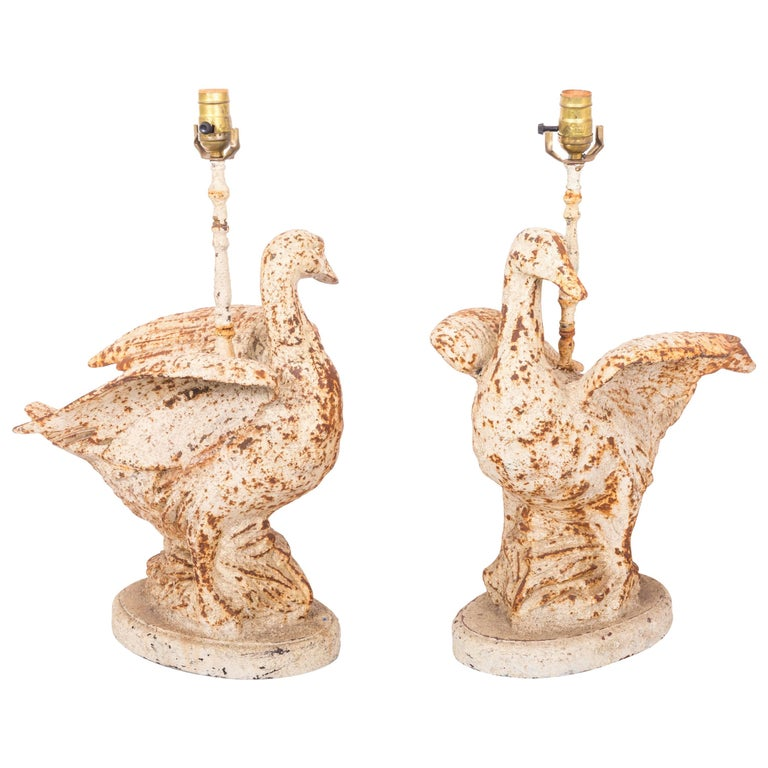 Pair of Cast Iron Duck Lamps