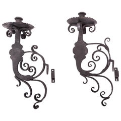 Pair of 17th Century European Hand-Forged Iron Wall Candle Sconces