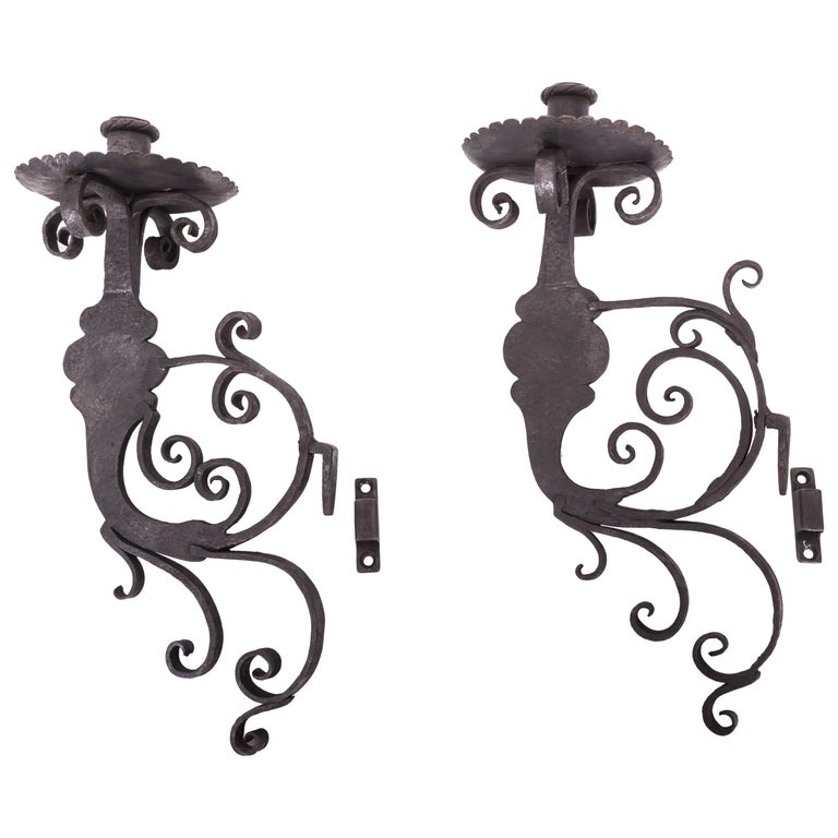 Pair of 17th Century European Hand-Forged Iron Wall Candle Sconces For Sale
