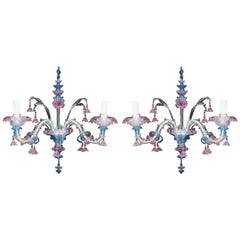 Pair of Venetian Clear, Pink and Blue Colored Glass Twin Branch Wall Light
