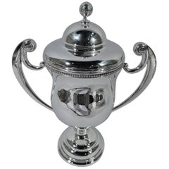 American Sterling Silver Trophy Cup with Golf Ball Finial