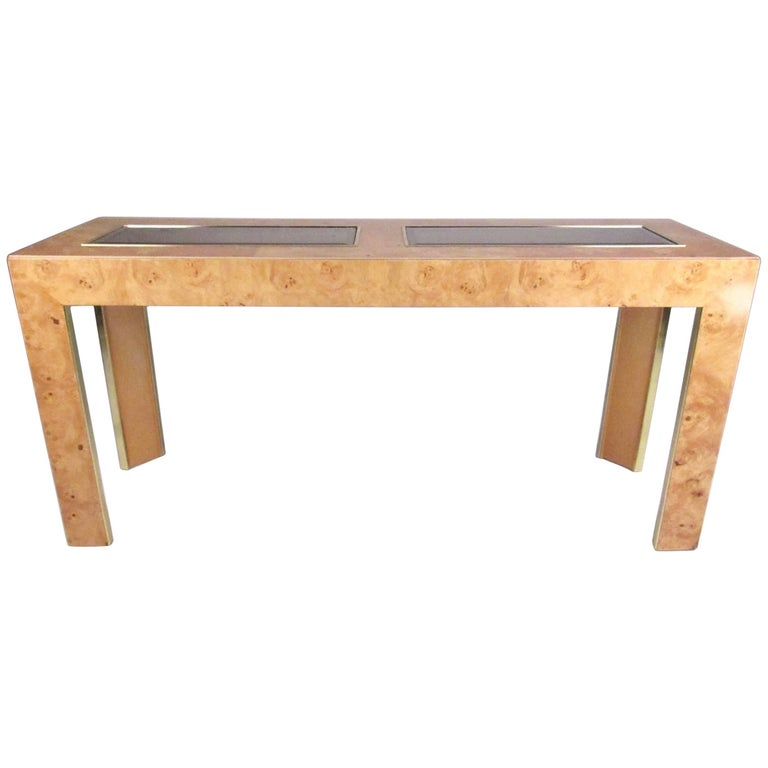 Vintage Modern Burl Wood Console Table by Thomasville 1. Vintage Modern Burl Wood Console Table by Thomasville For Sale at
