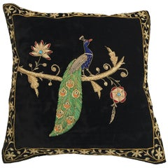 Velvet Black Silk Throw Pillow Embroidered with Gold Peacock Design