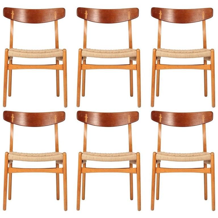 Mid Century Modern Hans Wegner CH23 Set of Six Chairs