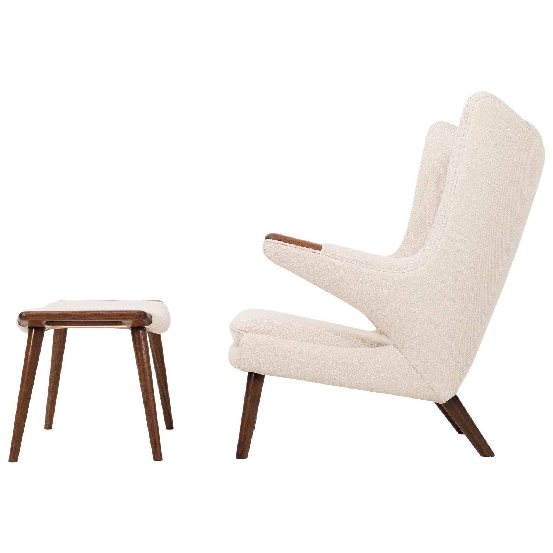 Hans J Wegner Papa Bear Chair and Ottoman For Sale at 1stdibs