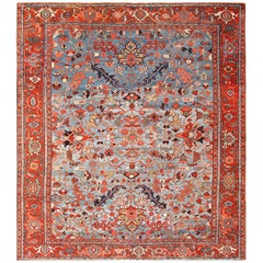 Blue Background Antique Persian Heriz Rug