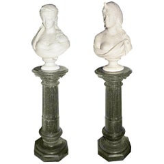 Two 19th Century Italian Marble Busts of Neapolitan Gypsy Girls