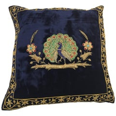 Velvet Blue Silk Pillow Embroidered with Gold Peacock