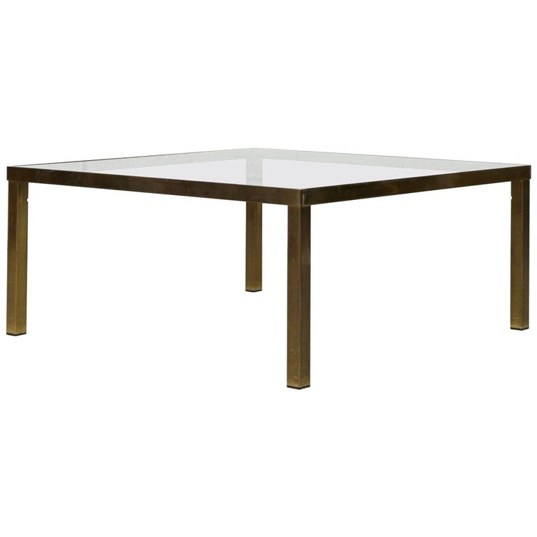 Maison Jansen Style Square Brass Plated Coffee Table For Sale At 1stdibs