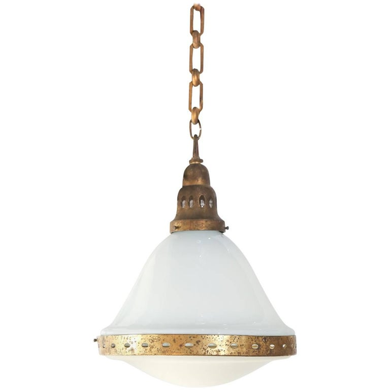 Antique French Brass and White Glass Pendant
