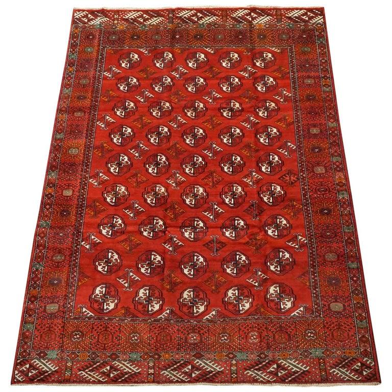 Vintage Turkoman Tekke Area Rug, Circa 1970 For Sale At
