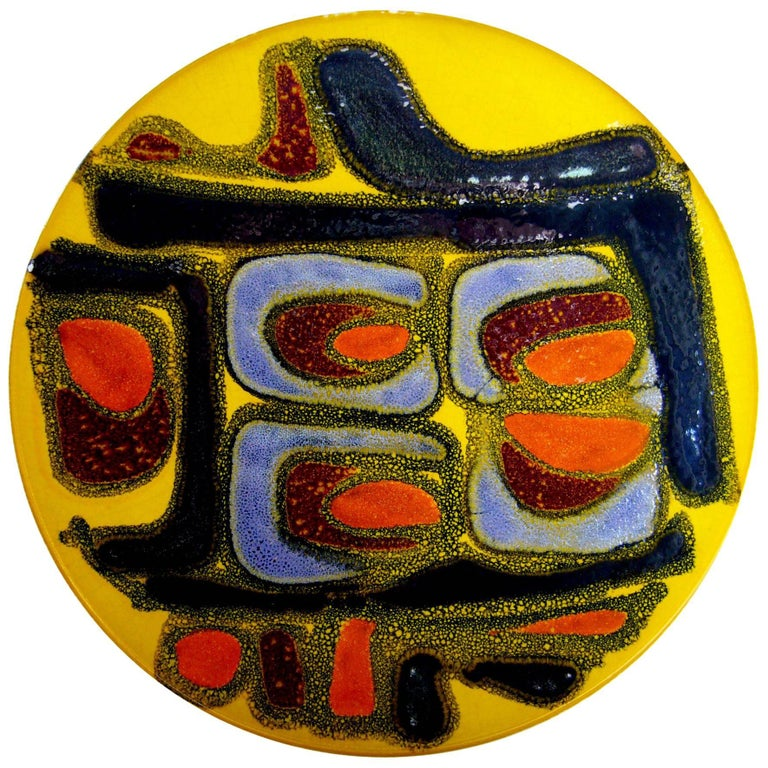 1960s British Modernist Poole Pottery Delphis Colorful Charger At