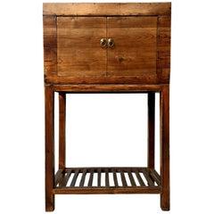 Antique Natural Wood Bar Cabinet