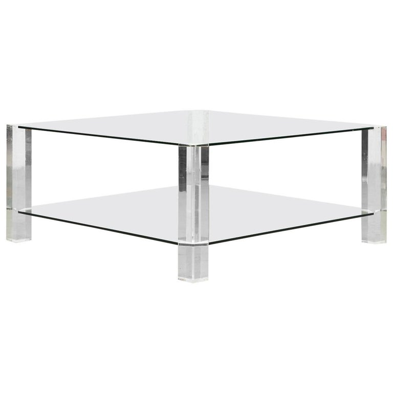 Two-Tiered 1970s Lucite and Glass Coffee Table