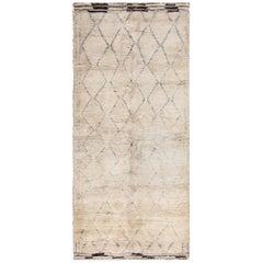 Geometric Moroccan Vintage Beni Ourain Rug