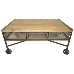 Industrial Style Coffee Table with Storage