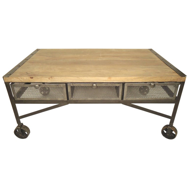 Industrial Style Coffee Table With Storage For Sale At 1stdibs