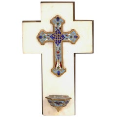 19th Century French White Marble Cross and Holy Water with Cloisonné Technique