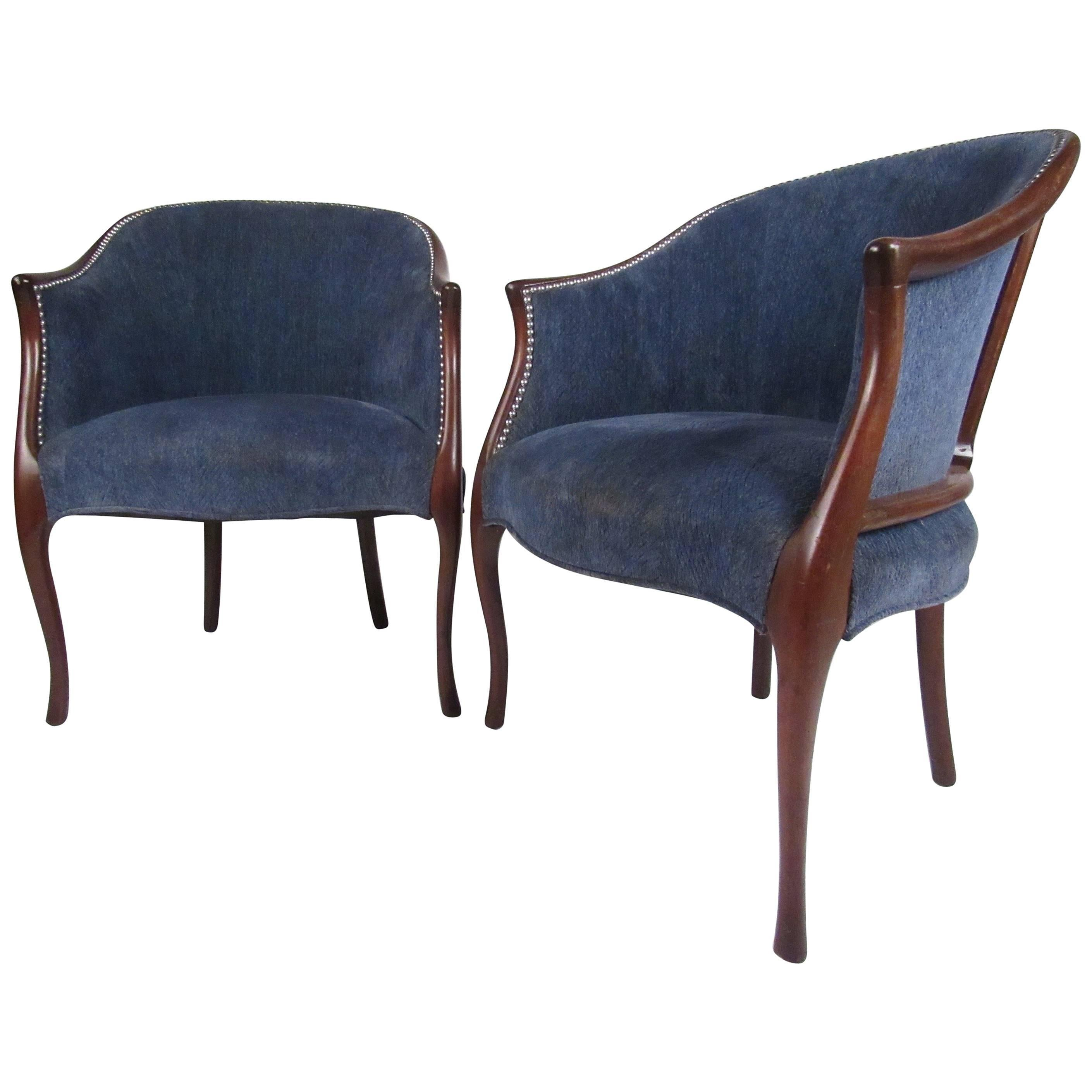 Pair Of Vintage Modern Club Chairs By Hickory Chair